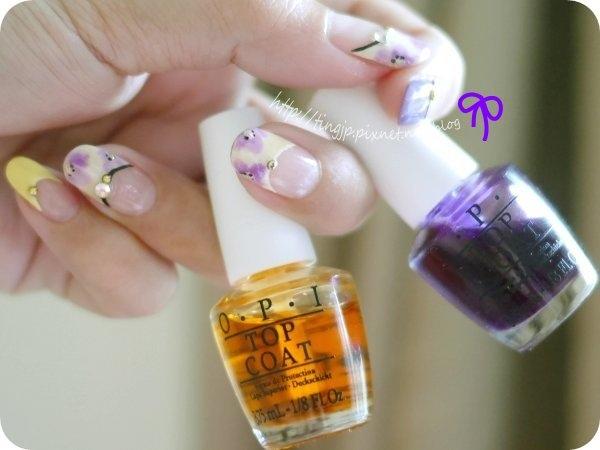 這次主要的水彩用色OPI S01果凍黃+S03果凍紫