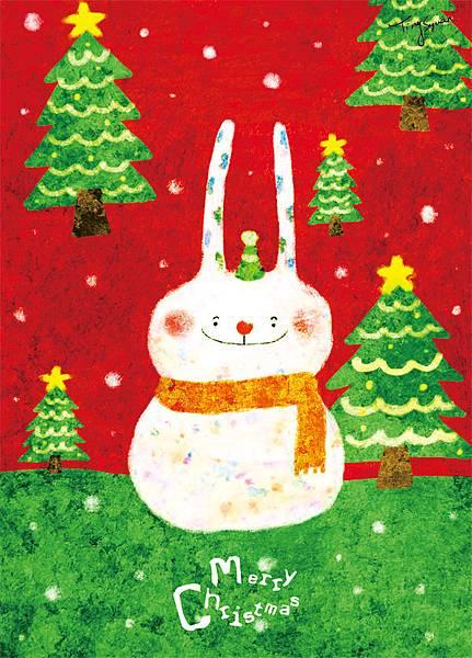 20121119 兔子雪人聖誕卡