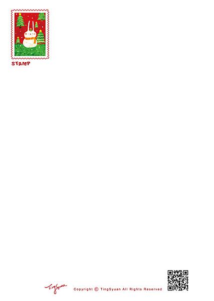 20121126{王少君}_卡之屋-兔子雪人聖誕卡-數位印刷星幻紙100張雙面[完成尺寸150x107mm][宅配]