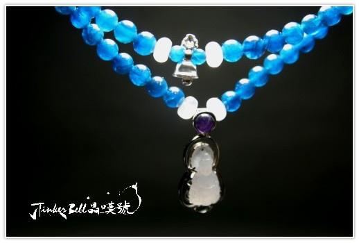 磷灰石+藍暈月光石+紫晶紫玉淨瓶觀音108顆,安頓內心進而產生更多正向能量。