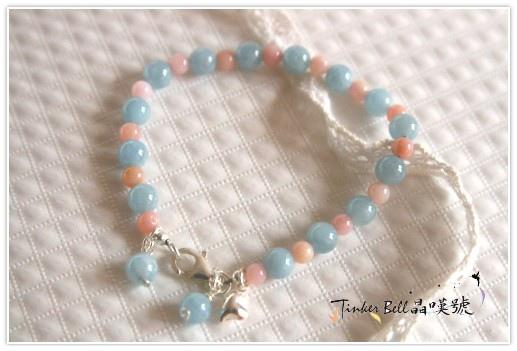 海水藍寶+粉蛋白石+愛心純銀手鍊,交會的光亮時時溫柔地守護您!