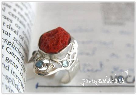 紅珊瑚根部+紅藍晶+粉碧璽+海藍寶。