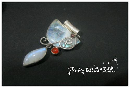 藍暈彩虹月光石+紫晶+紅玉隨