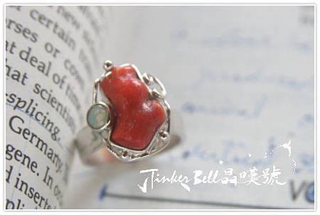 紅珊瑚+蛋白石魔法戒指。