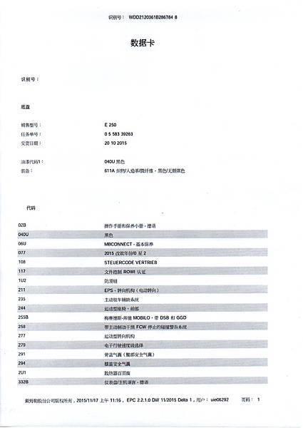 BENZ E250配備表