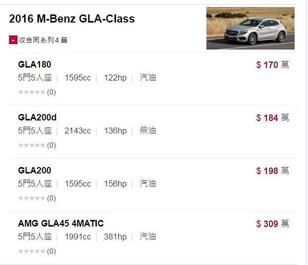 GLA250價格