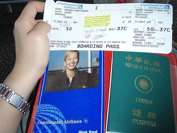 DAY 1-美國大陸航空機票--一個人的飛行