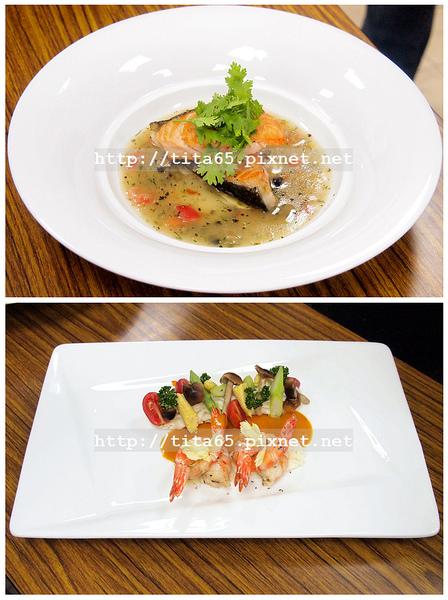 香煎鮭魚佐五味醬汁&香料鮮蝦佐美式龍蝦醬 (老師的成品)
