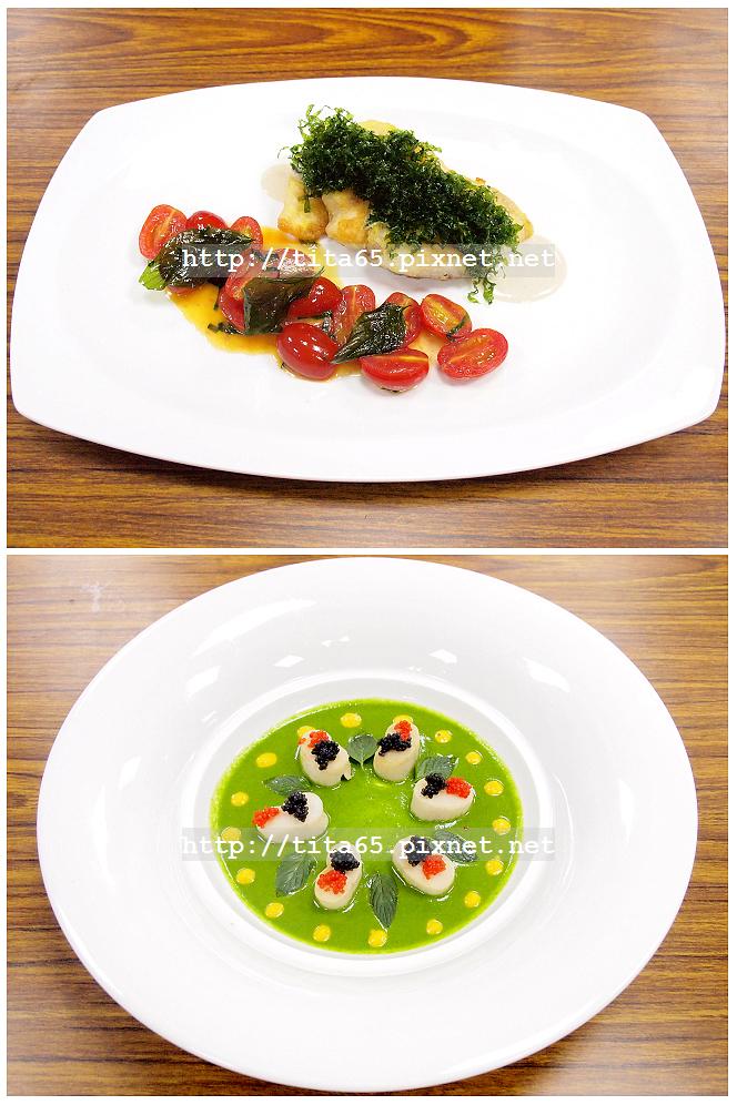 17 SEP_煎鯛魚佐鯷魚大蒜奶油醬汁&煎鮮干貝佐菠菜醬汁