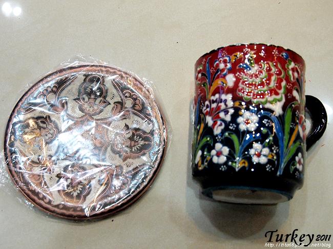 刀雕銅盤&陶製馬克杯
