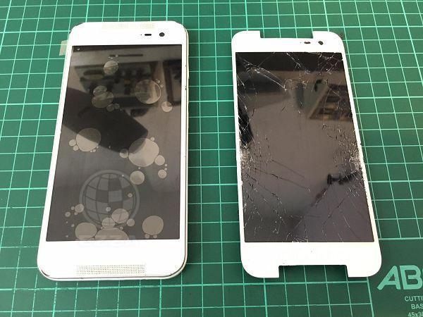 HTC 蝴蝶2面板破裂嚴重.jpg