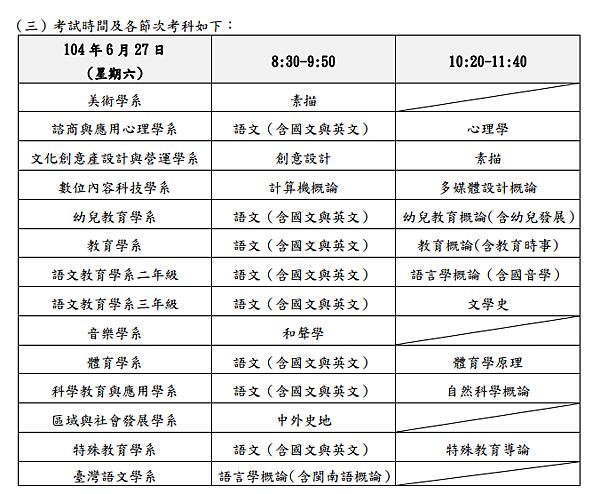 台中教育大學簡章
