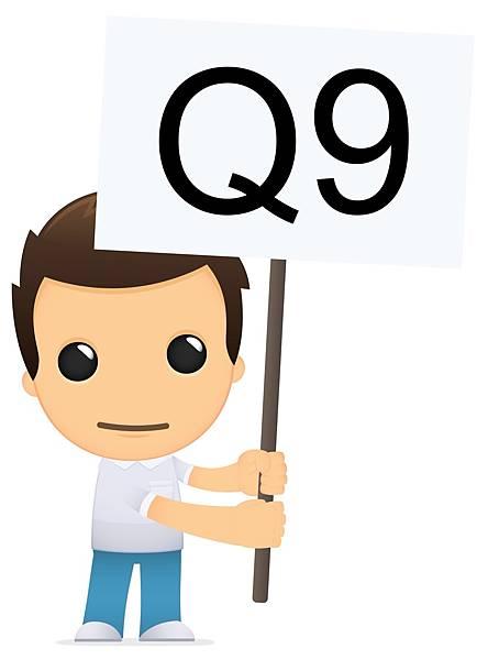 小男孩用一個1號表情舉著Q9的旗子詢問轉學考簡章該怎麼買?