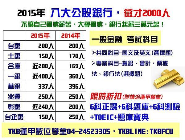 2015銀行招考