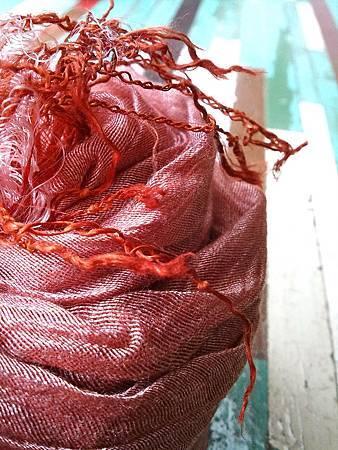 植物手染蠶絲圍巾披肩(茜草)