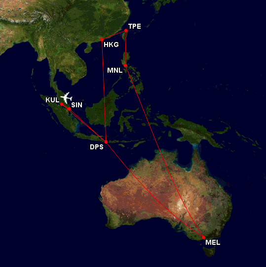 001 Flight Map (25 Jul to 12 Aug) EDITED