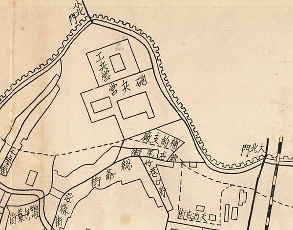 1907年〈臺南市街全圖〉中的工兵營及砲兵營.jpg