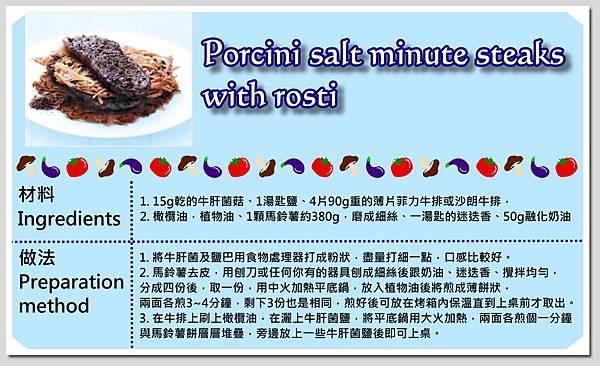 procini salt minute steaks with rosti