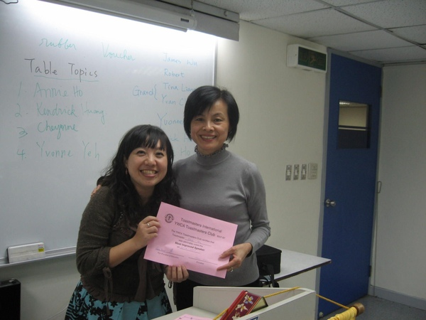 The Best Improved Speaker- Wendy Hsu
