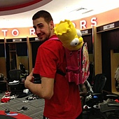 JV in cartoon backpack