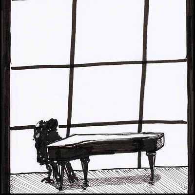 piano with winow