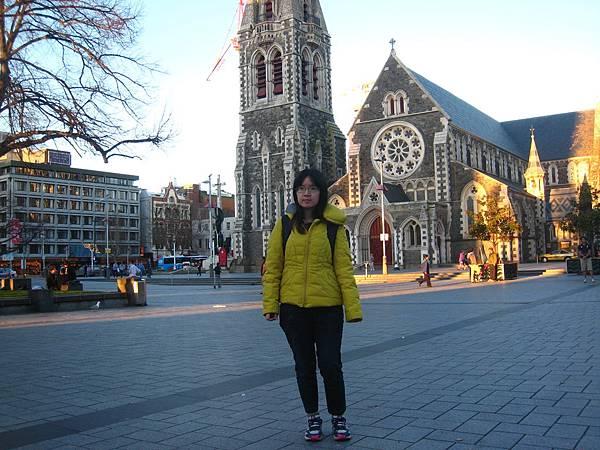 基督城。我和大教堂