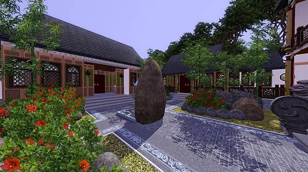 中庭廣景一,右方為峰頂春聲主屋,右前方是餐廳廚房.jpg