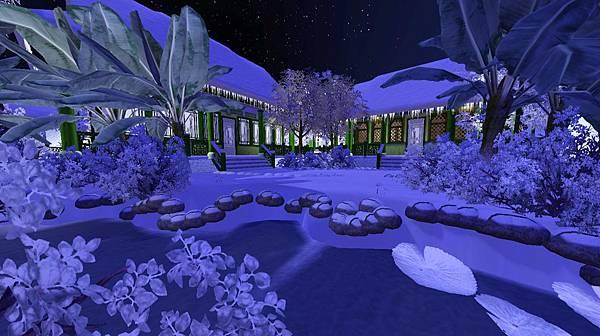 主屋與退步之間的梨花小院雪景.jpg