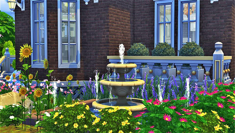 褐磚莊前院噴水池.jpg