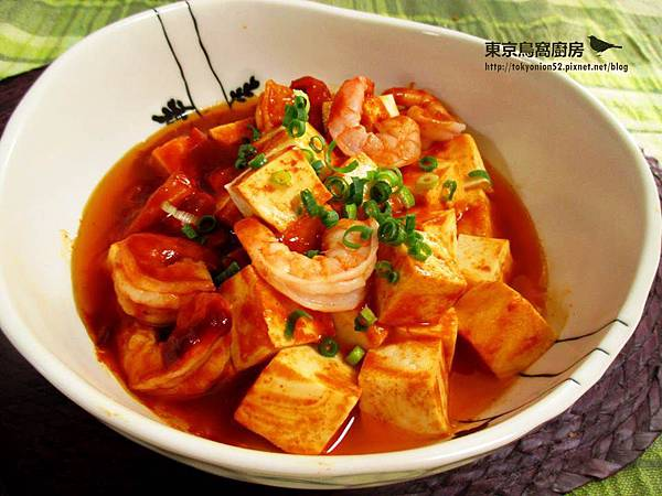 韓式辣醬蝦仁豆腐2