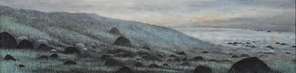 梁震明 綠草黑石138x34cm 2010