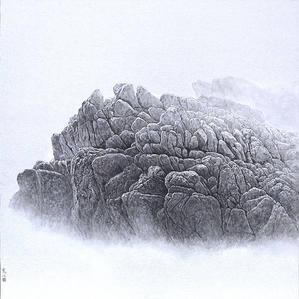 梁震明 劍龍石 89x89cm 2017