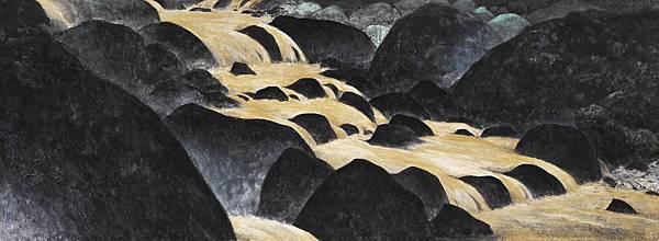 梁震明 黃金溪泉 91x33cm 2009