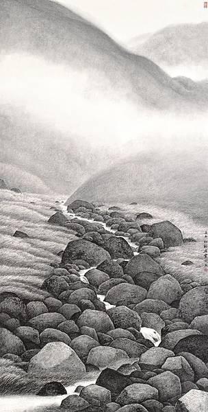 梁震明 叢石清澗 137.2x69.3cm 2002
