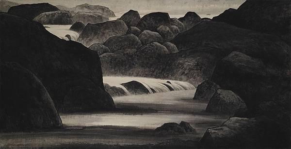 梁震明 溪中的黑石 65x127cm 2008