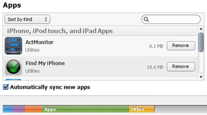 iTunes 11 Apps sync