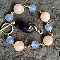 摩根石與藍玉髓手鍊+骨幹紫晶墜