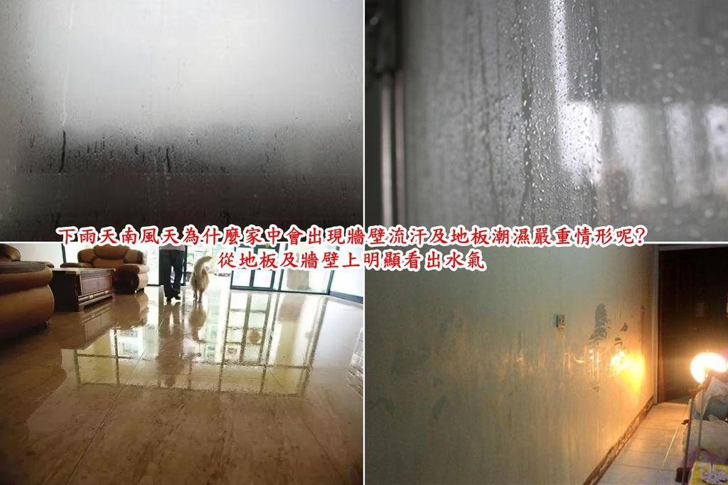 下雨天南風天為什麼家中會出現牆壁流汗及地板潮濕嚴重情形呢 只要下雨天從地板及牆壁上明顯看出水氣.房間太潮濕了人可是會生病的。  對人體而言,環境的影響不僅限於濕度或是溫度,而是兩者合一的溫溼度。  在一般情況下,對人體而言空氣的相對濕度在40-60%之間會令人感到最舒適。  外界濕度過高,影響人體內毛細孔的蒸散,反而會覺得悶熱,體內無法排水,就中醫來說,就是濕毒,會造成人體許多不良影響,  人如果長期居住在潮濕的環境中的話,機體內環境平衡會失調,有可誘發風濕類關節炎。  長期處於一個潮濕的環境下,例如室內,人容易引起呼吸道和肺部的一些病變  而且房間太潮濕的話,塵蟎數量是會增加的,孩子在潮濕的房間內也容易對塵蟎產生過敏反應,  所以如何讓房間保持乾燥不潮濕可是提升生活品質的首要目標。