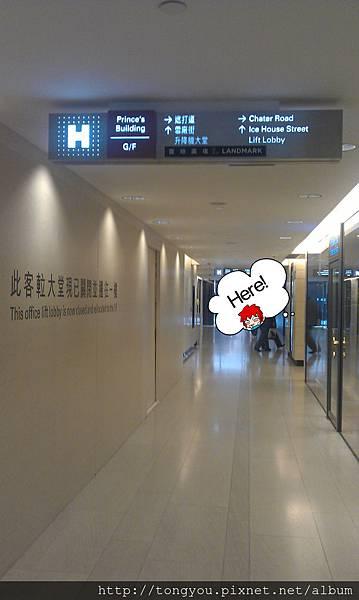 進入大廈後再往前方一些右轉會見三個電梯N/P/Q