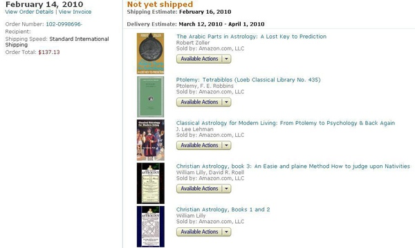 2010-02-14 亞馬遜買的英文原文占星書
