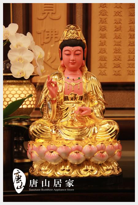 佛具佛像佛桌展示-蓮花觀音1尺3(貼日本金箔)