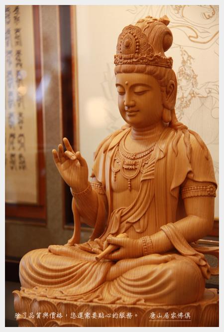 佛桌神像佛具用品展示-台灣檜木1尺6唐式蓮花觀音
