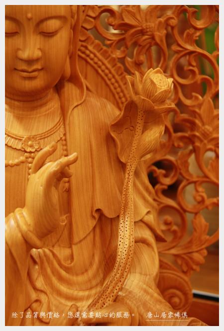 佛具佛桌佛像訂製~台灣檜木訂製2尺9荷花觀音(金剛蓮花台座加背光)