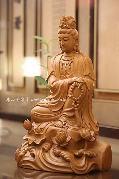 1尺3 樟木雕刻-蓮華自在觀音
