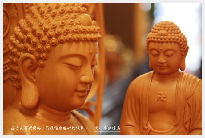 佛具佛像佛桌展示-台灣檜木大佛祖vs小佛祖