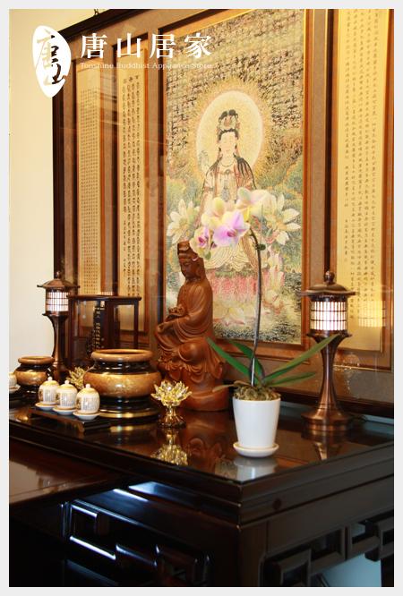 神桌佛桌佛具用品展示-林梵重彩畫淨瓶觀音佛聯