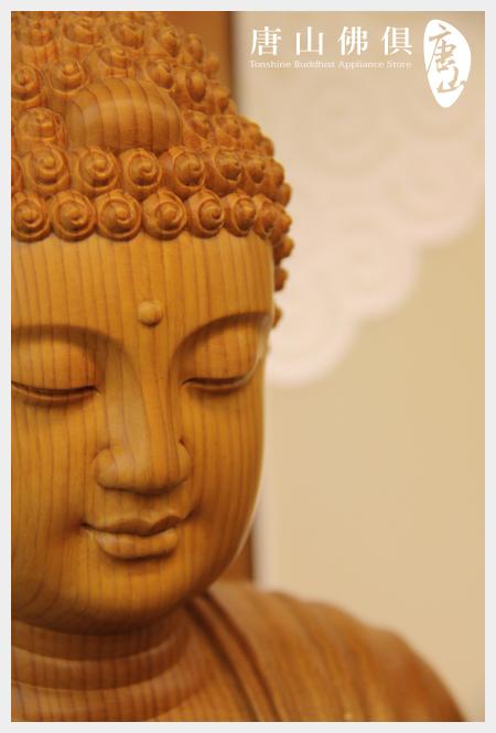 台灣檜木雕刻尺6佛祖臉部特寫