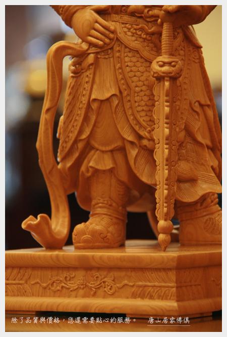 佛具佛像佛桌展示-台灣檜木韋陀護法1尺3(局部特寫)
