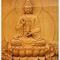 檜木立體雕刻觀音佛聯(觀音特寫)