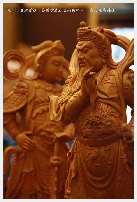 佛具佛像佛桌展示-台灣檜木迦藍vs韋陀護法1尺3